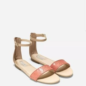 Cole Haan Nude & Coral Ankle Strap Sandal-Size 9.5